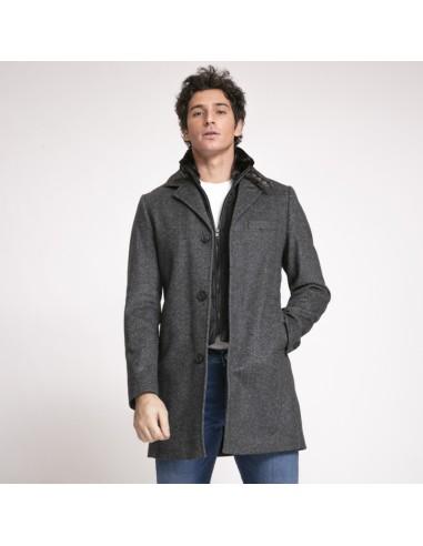 Kean - Manteau gris avec coupe-vent noir