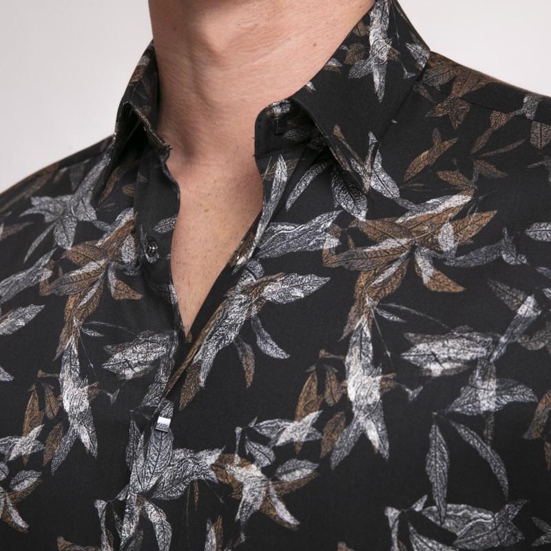 Karl Lagerfeld - Chemise noire à motifs végétaux camel et gris