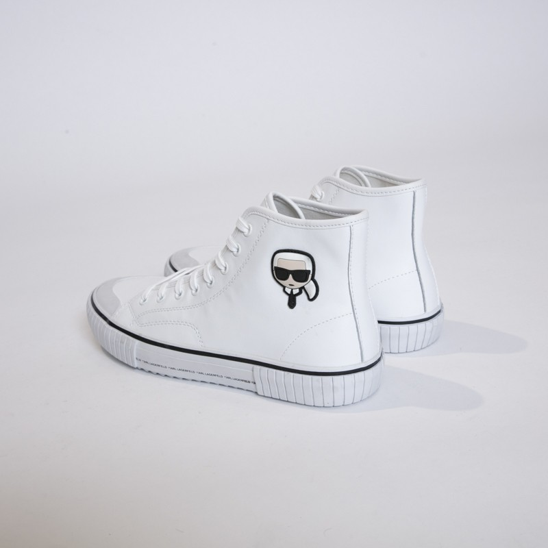 Karl Lagerfeld - Sneakers blanches montantes avec icône Karl