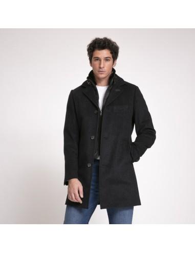 Kean - Manteau noir carreaux Prince de Galles avec coupe-vent
