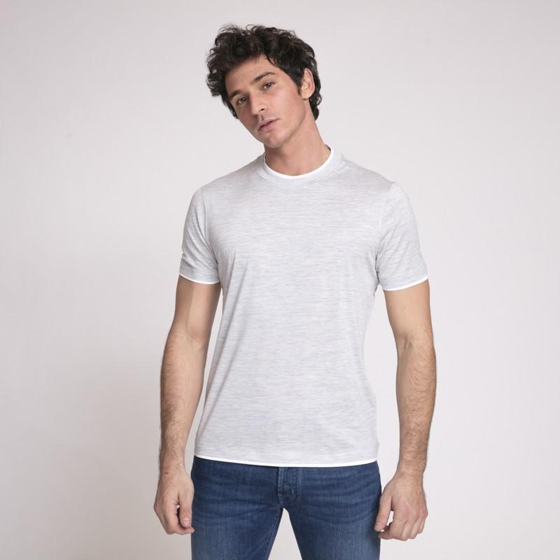 Brunello Cucinelli - T-shirt gris clair ras-du-cou