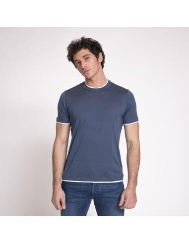 Brunello Cucinelli - T-shirt bleu guède col rond à empiècements