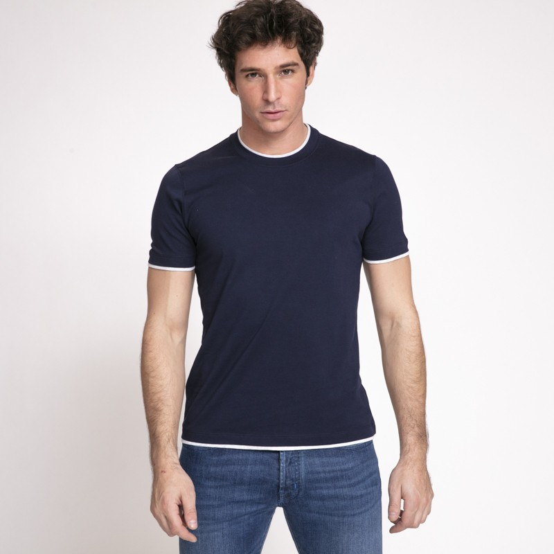 T-shirt bleu marine ras-du-cou Brunello Cucinelli