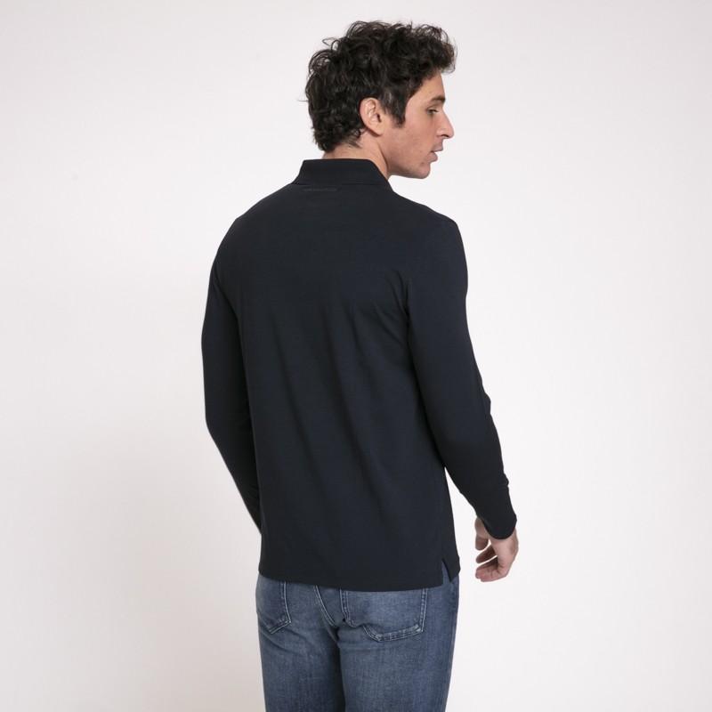 Karl Lagerfeld - Polo bleu-noir à manches longues avec col boutonné