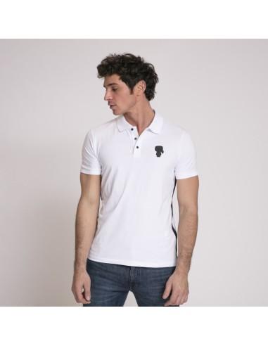Karl Lagerfeld - Polo blanc à manches courtes avec col boutonné