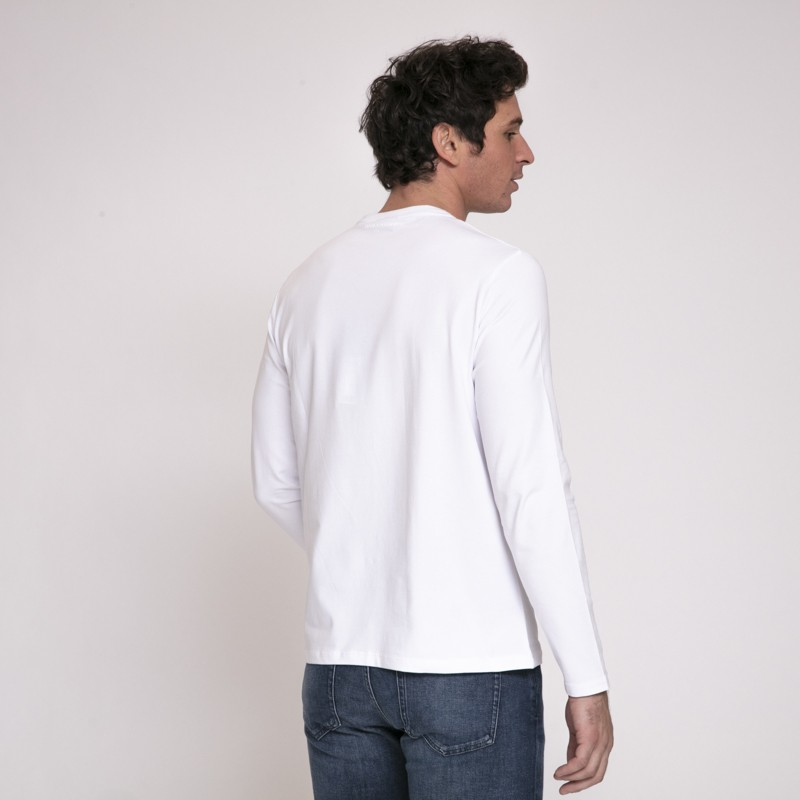Karl Lagerfeld - T-shirt blanc à manches longues avec icône Karl noire