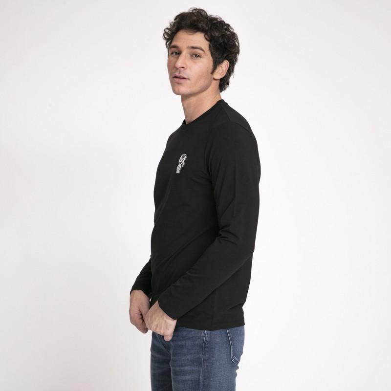 Karl Lagerfeld - T-shirt noir à manches longues avec icône Karl noire