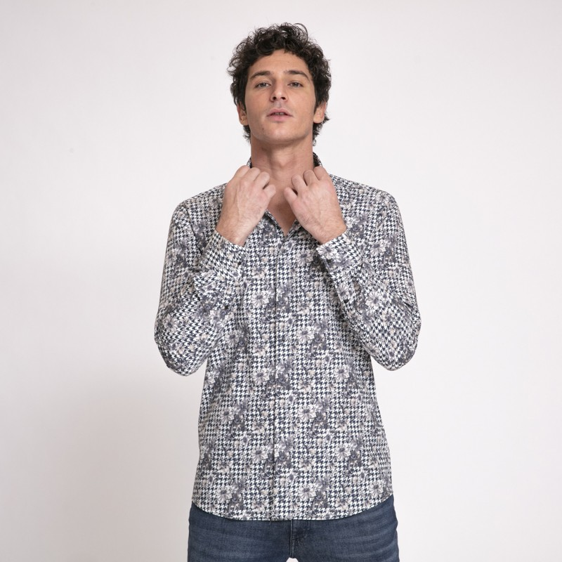 Karl Lagerfeld - Chemise pied-de-poule à motifs fleuris