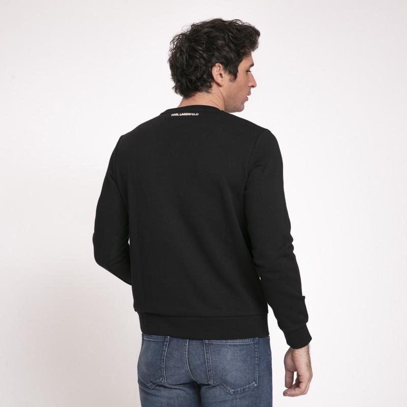 Karl Lagerfeld - Sweat noir avec icône Karl argentée en relief
