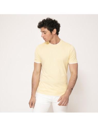 Brunello Cucinelli - T-shirt jaune à empiècements blancs