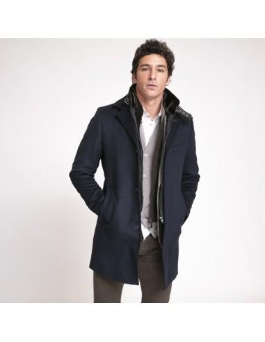 Kean - Manteau bleu marine avec coupe-vent noir