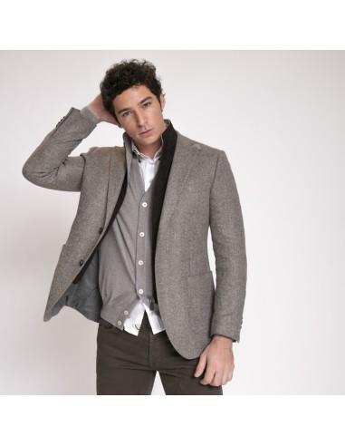 Duncan - Veste type blazer beige et marron