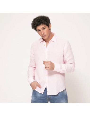 Duncan - Chemise rose dragée à coudières en lin