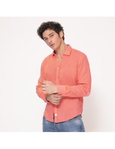 Duncan - Chemise rose incarnat à coudières en lin