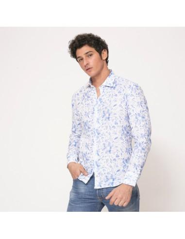 Duncan - Chemise blanche à motifs fleuris bleus en lin