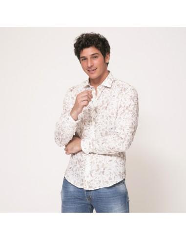 Duncan - Chemise blanche à motifs fleuris marron en lin