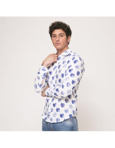Duncan - Chemise blanche à pois bleus en lin