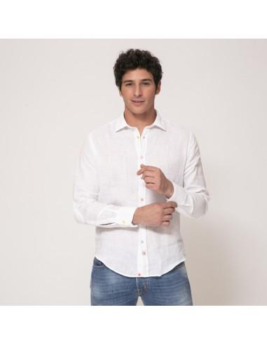 Duncan - Chemise blanche à coudières en lin