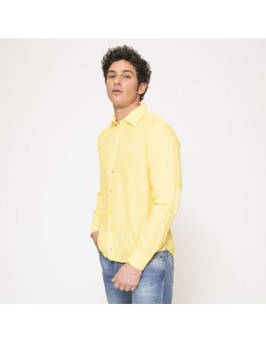 Duncan - Chemise jaune à coudières en lin