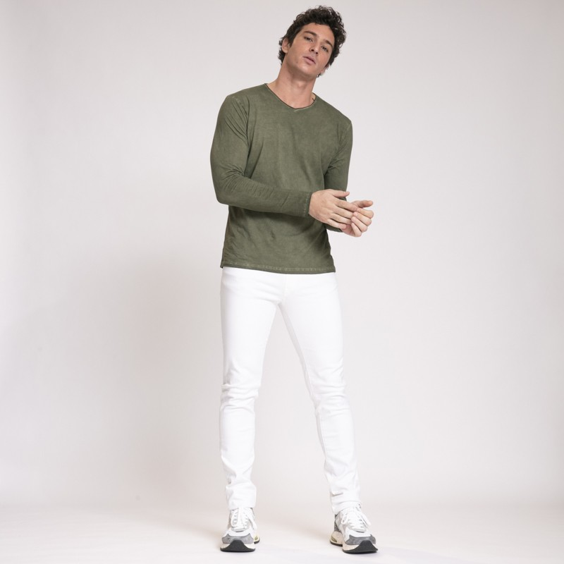 Anonym - T-shirt à manches longues kaki