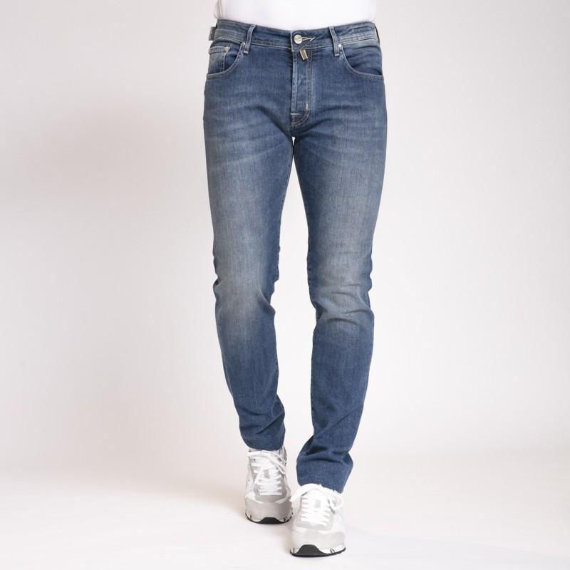 Jacob Cöhen - Jeans coupe ajustée bleu effet délavé
