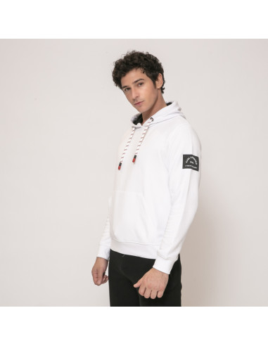 Karl Lagerfeld - Sweat blanc à capuche et patch logo