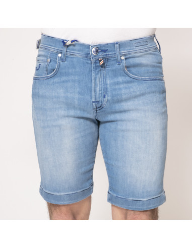Jacob Cohën - Bermuda en jean bleu effet délavé