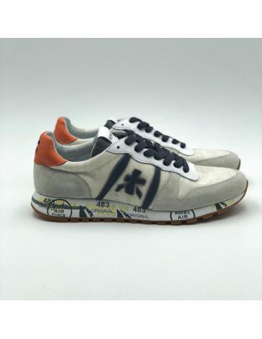 Premiata - Sneakers basses beige, orange et bleu marine