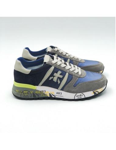 Premiata - Sneakers basses bleu, gris et jaune fluo