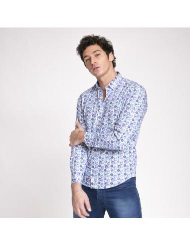 Duncan - Chemise blanche à motifs ronds