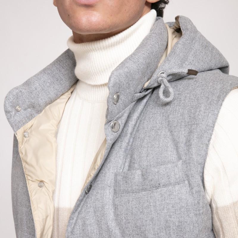 Brunello Cucinelli - Blouson gris clair sans manches à capuche