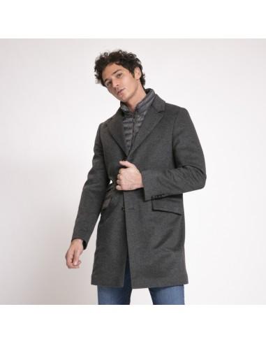 MooRER - Manteau Harris-Le gris avec coupe vent matelassé